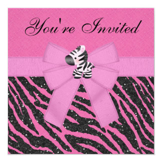 Zebra, Pink Cupcakes & Animal Print Glitter Party Personalized Announcement