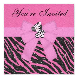 "Zebra, Pink Cupcakes & Animal Print Glitter Party 5.25"" Square Invitation Card"