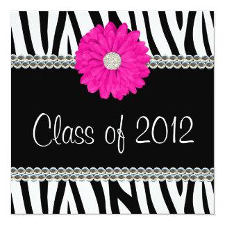 Zebra Pink Daisy Faux Gems Graduation Announcement