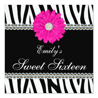 Zebra Pink Daisy Gems Sweet 16 Birthday Card