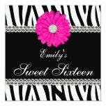 Zebra Pink Daisy Gems Sweet 16 Birthday Personalized Announcement