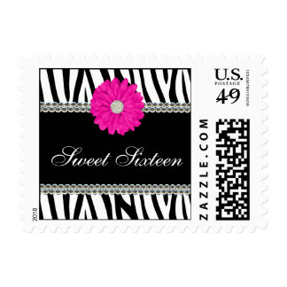 Zebra Pink Daisy Gems Sweet 16 Birthday Postage Stamp