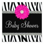 "Zebra Pink Daisy Printed Gems Baby Shower 5.25"" Square Invitation Card"
