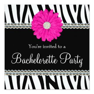 Zebra Pink Daisy Printed Gems Bachelorette Party Card