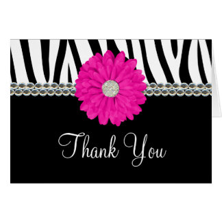 Zebra Pink Daisy Printed Gems Thank You Stationery Note Card