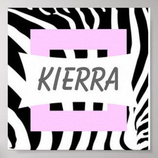 Zebra Pink Design Name Poster