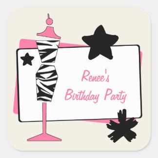 Zebra & Pink Dress Form Birthday Party Stickers