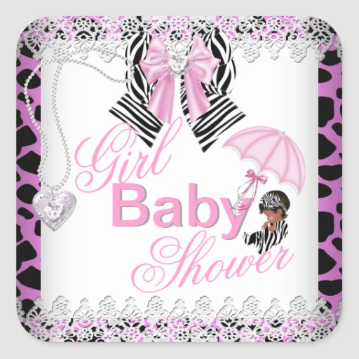 Zebra pink girl baby shower african american square for Pink and zebra bathroom ideas