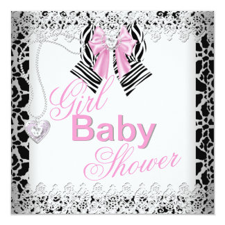 Zebra Pink Girl Baby Shower Lace 5.25x5.25 Square Paper Invitation Card
