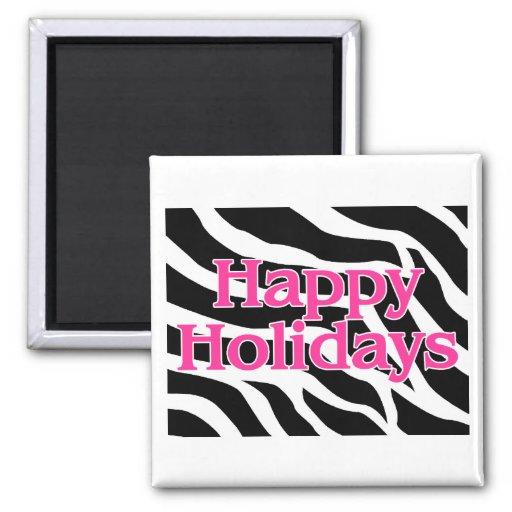 Zebra Pink Happy Holidays Magnet