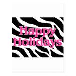 Zebra Pink Happy Holidays Postcard