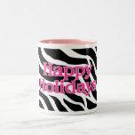 Zebra Pink Happy Holidays Two-Tone Coffee Mug