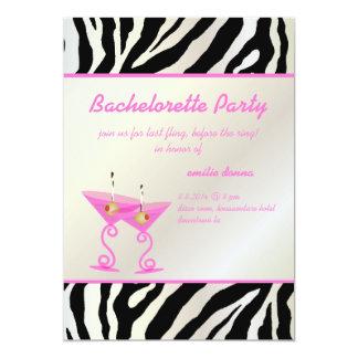 Zebra/pink martini Bachelorette Party Card