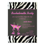 Zebra/pink martini Bachelorette Party Custom Invites