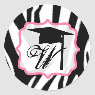 Zebra & Pink Monogram Graduation Cap Sticker
