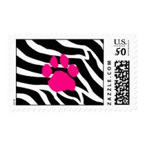 Zebra Pink Paw Print Postage