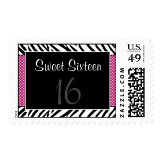 Zebra Pink Polka Dot Sweet 16 Birthday Postage