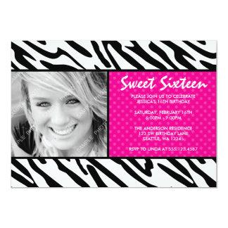 "Zebra Pink Polka Dot Sweet 16 Photo Invitation 5"" X 7"" Invitation Card"