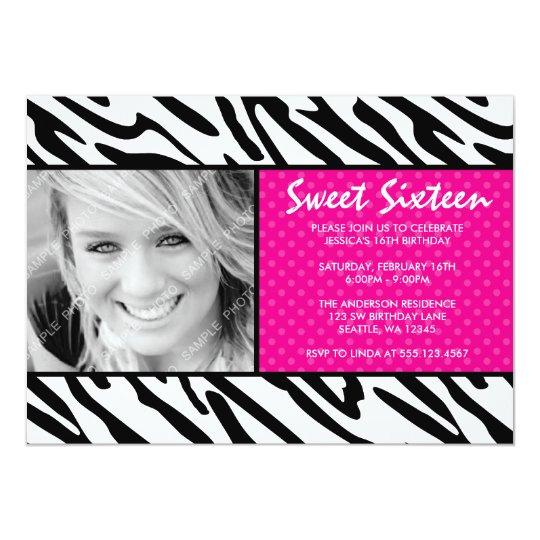 Zebra Pink Polka Dot Sweet 16 Photo Invitation