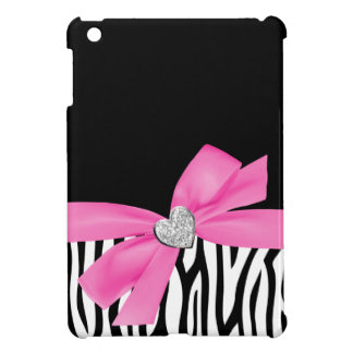Zebra Pink Printed Bow Diamond Heart Case For The iPad Mini