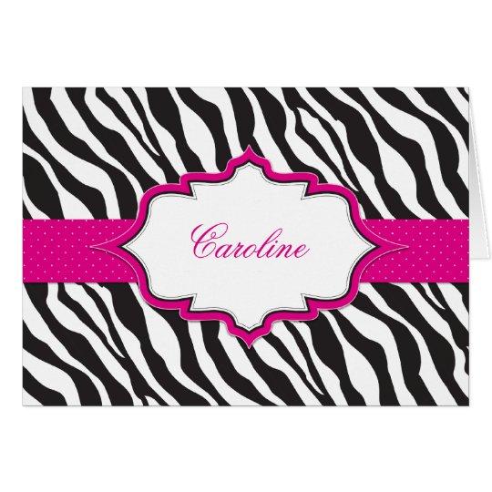 Zebra Pink Ribbon Thank You Card
