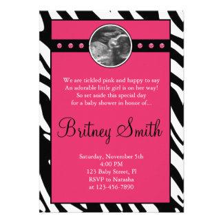 Zebra Pink Sonogram Photo Baby Shower Invitation