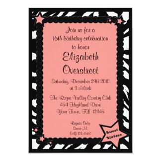 Zebra Pink Sweet Sixteen Birthday Photo Invitation