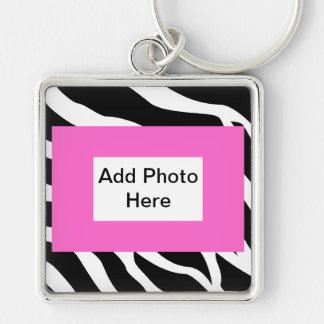 Zebra Pink White Template Keychain