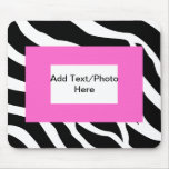 Zebra Pink White Template Mouse Pad
