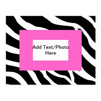 Zebra Pink White Template Postcards