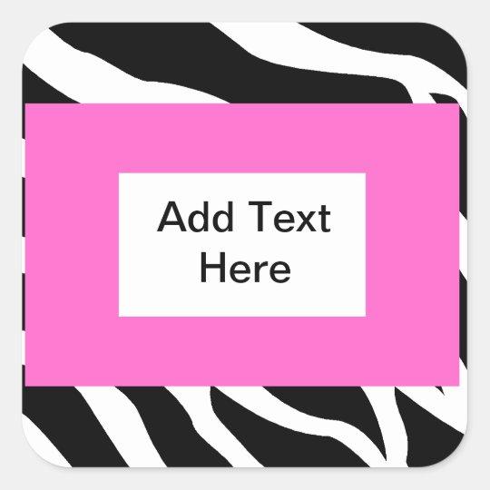 Zebra Pink White Template Square Sticker
