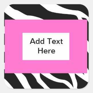 Zebra Pink White Template Square Stickers