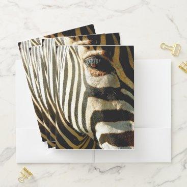 Beach Themed Zebra Pocket Folder