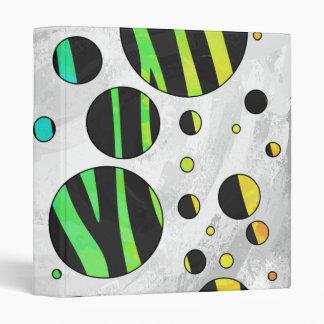 Zebra Polka Dot Black and Rainbow Print Binder