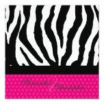 zebra/polka dots/hot pink 5.25x5.25 square paper invitation card