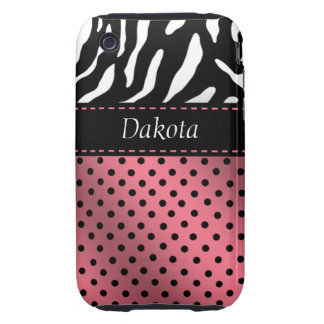 Zebra Polka Dots Personalized iPhone Case pink iPhone 3 Tough Cases