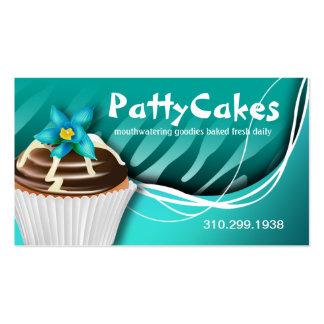 Zebra Pop Cupcakes - ombre aqua Business Card