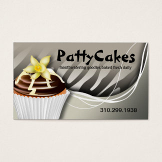 Zebra Pop Cupcakes - ombre grey Business Card