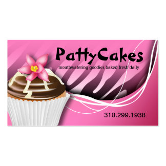 Zebra Pop Cupcakes - ombre pink Business Card