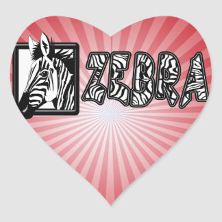 ZEBRA POP-OUT HEART STICKER