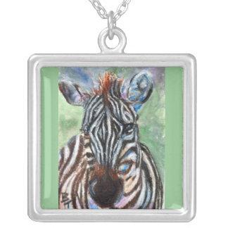 Zebra Portrait ACEO Necklace