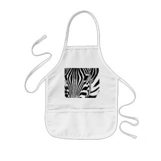 Zebra portrait black and white kids' apron