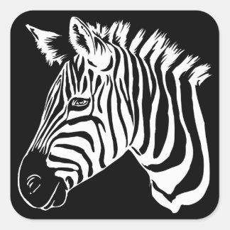 Zebra Portrait Square Sticker