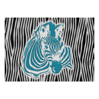Zebra Poster Print Pattern Abstract Blue Aqua