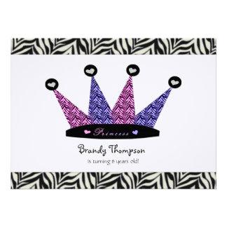 Zebra Princess Crown Party Invitations