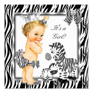 Zebra Princess Girl Baby Shower Blonde Card