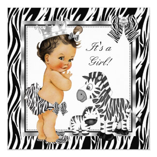 Zebra Princess Girl Baby Shower Brunette Card