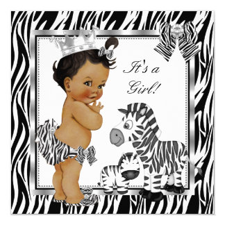 Zebra Princess Girl Baby Shower Ethnic Card