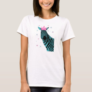 Zebra Princess in Aqua with Pink Crown T-Shirt
