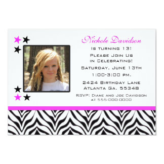 "Zebra Print: 13th Birthday Party Invitations 5"" X 7"" Invitation Card"